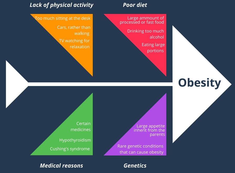 Fishbone Diagram Example - Obesity Reasons