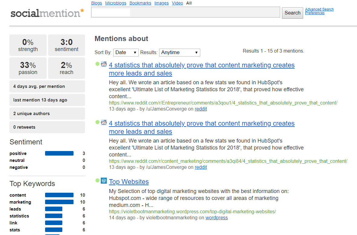 Social Mention - software for monitoring competitors mentions