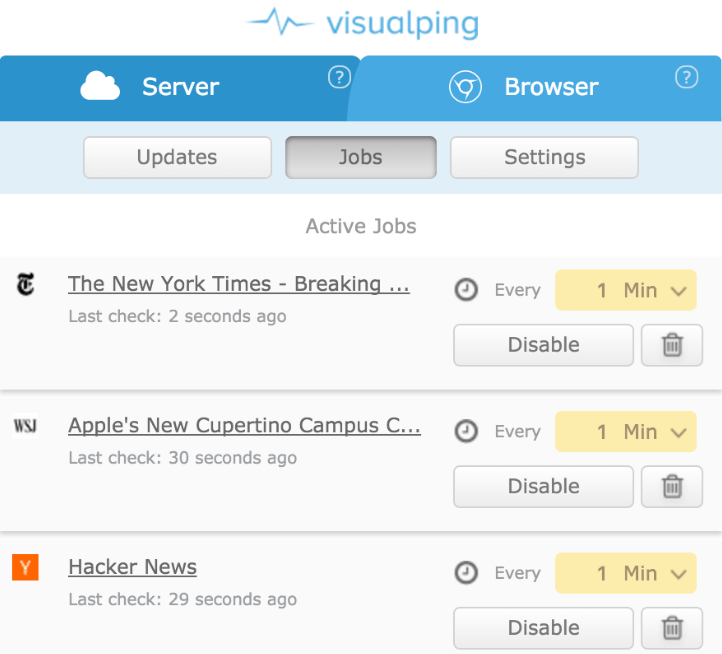 Visualping - tracking competitor site changes print screen