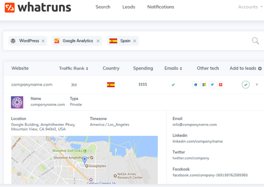 Whatruns -software thta reveals the competitor's technology