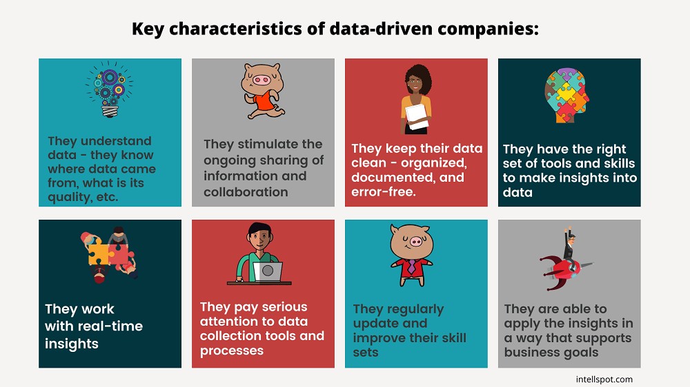 Key characteristics of data-driven companies - a short infographic