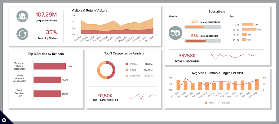 Datapine data dashboard example in digital marketing