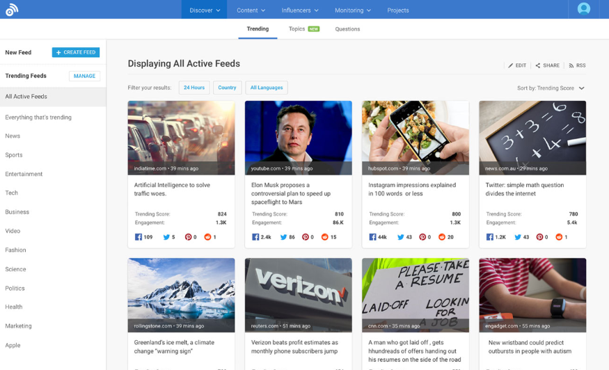 BuzzSumo Print Screen