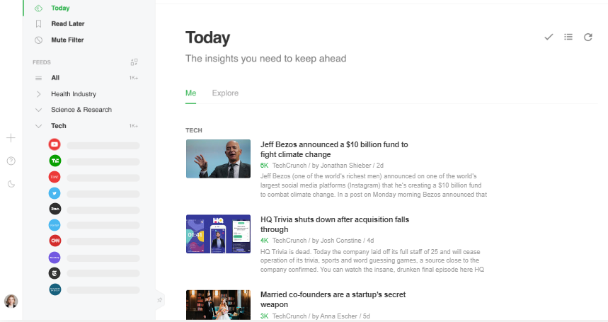 Feedly Print Screen