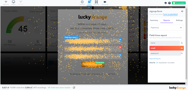 Form Analysis Print Screen - LuckyOrange