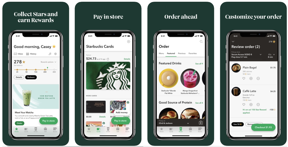 Starbucks mobile app - print screen