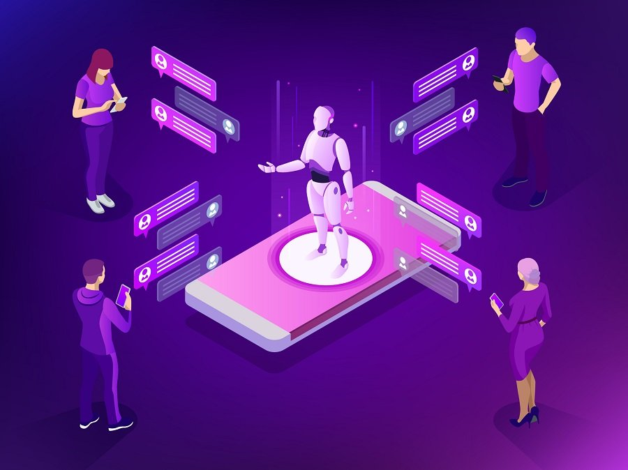 Isometric artificial intelligence. AI and business IOT concept. Mans and women chatting with chatbot application.